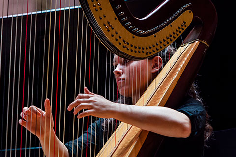 A woman playing the harp