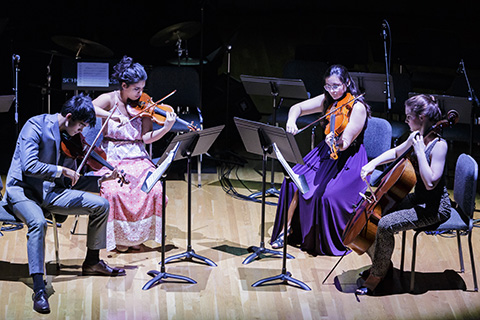 A group of musicians with string instruments play music on stage